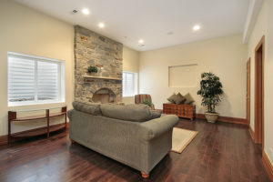 Basement-With-Stone-Fireplace